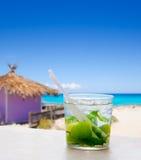 在热带紫色小屋的Mojito在绿松石海滩 免版税库存图片