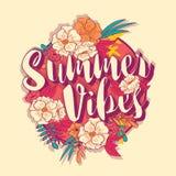 在热带花框架的夏天震动印刷术横幅圆的设计 免版税库存照片
