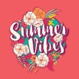 在热带花框架的夏天震动印刷术横幅圆的设计 库存图片