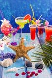 在热带蓝色木头的五颜六色的混杂的鸡尾酒 库存图片