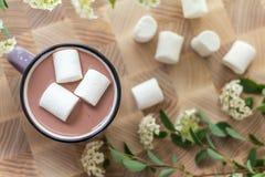 在热的可可粉顶部的蛋白软糖在桃红色杯子 免版税库存照片