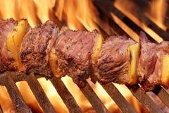 在热的格栅的用卤汁泡的BBQ肉或牛肉Kebab烤肉 库存图片