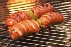 在热的火焰状格栅的BBQ唾液烤肥腻香肠 库存照片