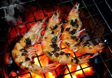 在热的火的格栅虾从木炭 免版税库存图片