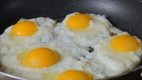 在热的煎锅的炒蛋 影视素材