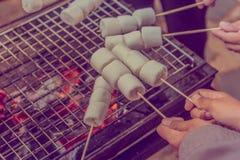在热的煤炭的烤蛋白软糖 免版税库存图片