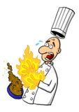 在热的盘的厨师灼烧的手 免版税库存照片