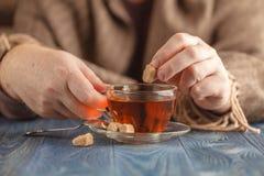 在热的茶的泡的糖 免版税库存照片
