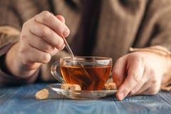 在热的茶的泡的糖 库存照片