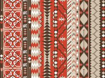 在热的颜色的阿兹台克无缝的样式与箭头 免版税库存照片
