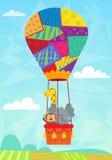 在热空气气球的动物 库存照片