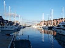 在热那亚港的小船  库存图片