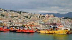 在热那亚,意大利港的看法  库存照片