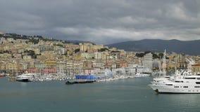 在热那亚,意大利港的看法  图库摄影