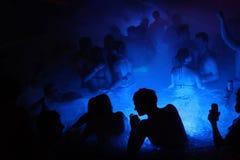 在热量浴的夜党在布达佩斯,匈牙利 免版税库存图片