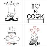 在烹调和食物题材的商标与题字的 图库摄影