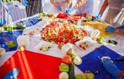 在烹调希腊沙拉的主要类在晴朗的大阳台  库存照片