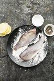 在烹调的新鲜的被毁坏的裁减河鱼与盐,胡椒,在灰色难看的东西背景的柠檬切片前 顶视图 免版税库存图片