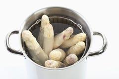在烹调罐的白色芦笋反对白色背景 库存图片