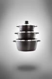 在烹调罐的蒸汽 免版税库存照片