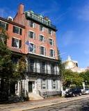 在烽火台St,波士顿,麻省的褐砂石 免版税库存照片