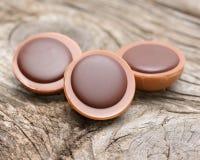 在焦糖的一颗榛子用乳脂状的牛乳糖和巧克力 免版税库存照片