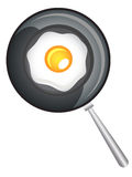 在煎锅传染媒介例证的煎蛋卷 免版税库存照片