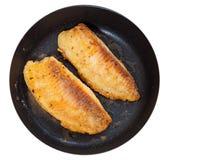 在煎锅的油煎的鱼片 顶视图 查出 库存照片