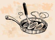 在煎锅的鸡 免版税库存照片