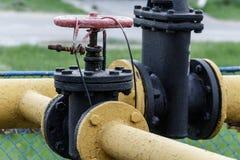 在煤气管的阀门 库存图片