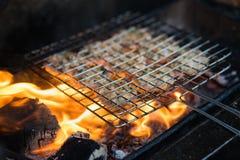在煤炭火的烤肉肉 小圆面包cha成份是著名越南汤面用bbq肉,春卷,细面条 免版税库存图片
