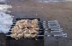 在煤炭烤的鲜美肉 白种人纤巧 库存照片