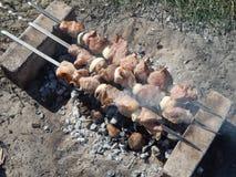 在煤炭的烤肉串 图库摄影