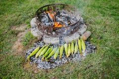 在煤炭的烧烤玉米 免版税库存图片