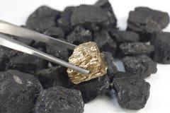在煤炭背景的金黄矿块 库存照片