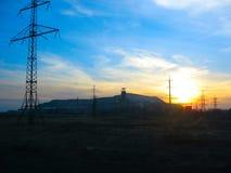 在煤矿的日落 库存图片