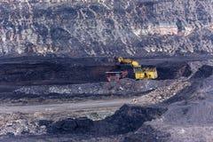 在煤矿的黄色反向铲工作 免版税库存图片