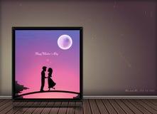 在照片框架的愉快的情人节爱情小说概念在葡萄酒背景 库存照片