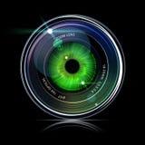 在照相机照片透镜里面的眼睛 免版税库存图片