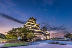 在熊本城堡的美好的日落在九州,日本 库存照片