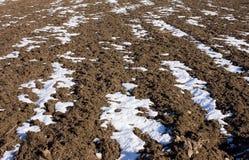 在熔化的雪下的被犁的领域 库存照片