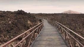 在熔岩岩石领域的木道路在兰萨罗特岛,西班牙 免版税库存照片