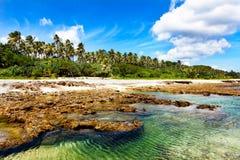在熔岩海滩的绿松石水 免版税库存图片