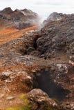 在熔岩荒野Leirhnjukur火山,冰岛的喷气孔 库存照片