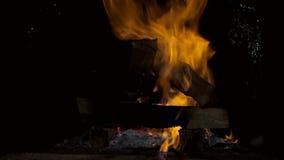 在熔炉的火焰 烧在烤箱的木头 股票录像