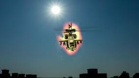 在爆炸前面的直升机飞行 库存图片