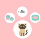 在爪子印刷品形状的暹罗猫圆的圈子象集合  猫材料对象 老鼠玩具,床,食物锡罐 平的设计样式 逗人喜爱的c 免版税库存图片