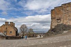 在爱丁堡城堡里面,爱丁堡,苏格兰,英国首都普遍的旅游地标复杂区域的走道  图库摄影