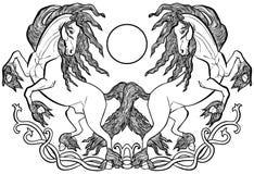 在爱凯尔特人装饰品的黑白花的马 向量例证