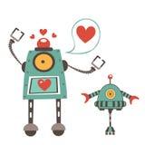 在爱夫妇的逗人喜爱的机器人 免版税库存照片